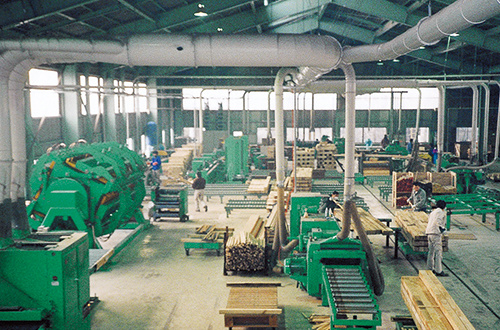 Production line for laminated wood